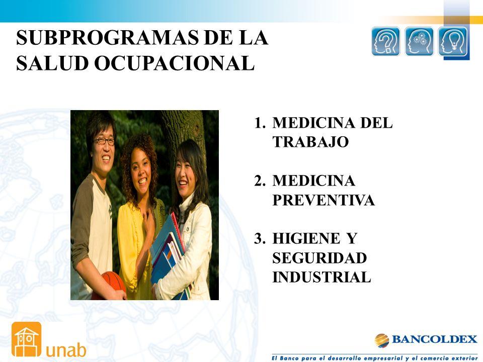 SUBPROGRAMAS DE LA SALUD OCUPACIONAL MEDICINA DEL TRABAJO