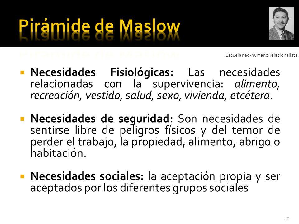 Pirámide de Maslow Escuela neo-humano relacionalista.
