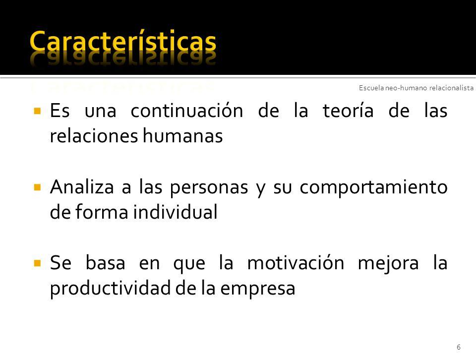 Características Escuela neo-humano relacionalista. Es una continuación de la teoría de las relaciones humanas.