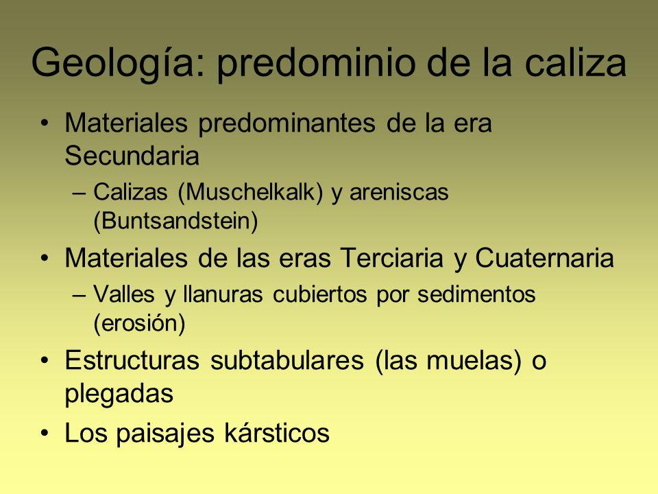 Geología: predominio de la caliza
