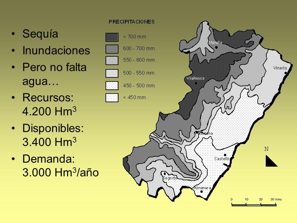 Sequía Inundaciones. Pero no falta agua… Recursos: 4.200 Hm3.