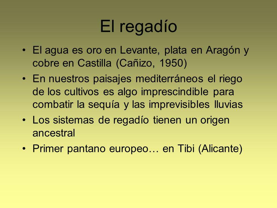 El regadío El agua es oro en Levante, plata en Aragón y cobre en Castilla (Cañizo, 1950)