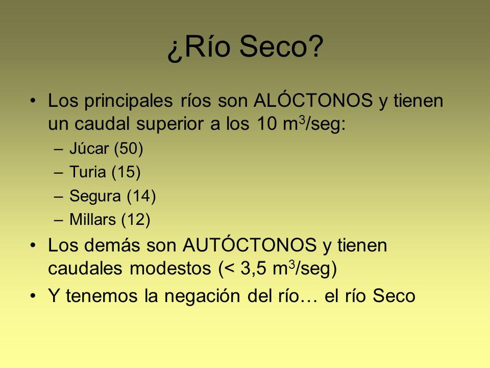 ¿Río Seco Los principales ríos son ALÓCTONOS y tienen un caudal superior a los 10 m3/seg: Júcar (50)