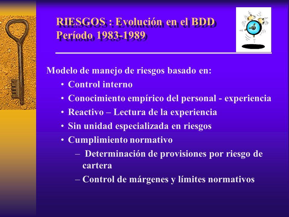 RIESGOS : Evolución en el BDD Período 1983-1989