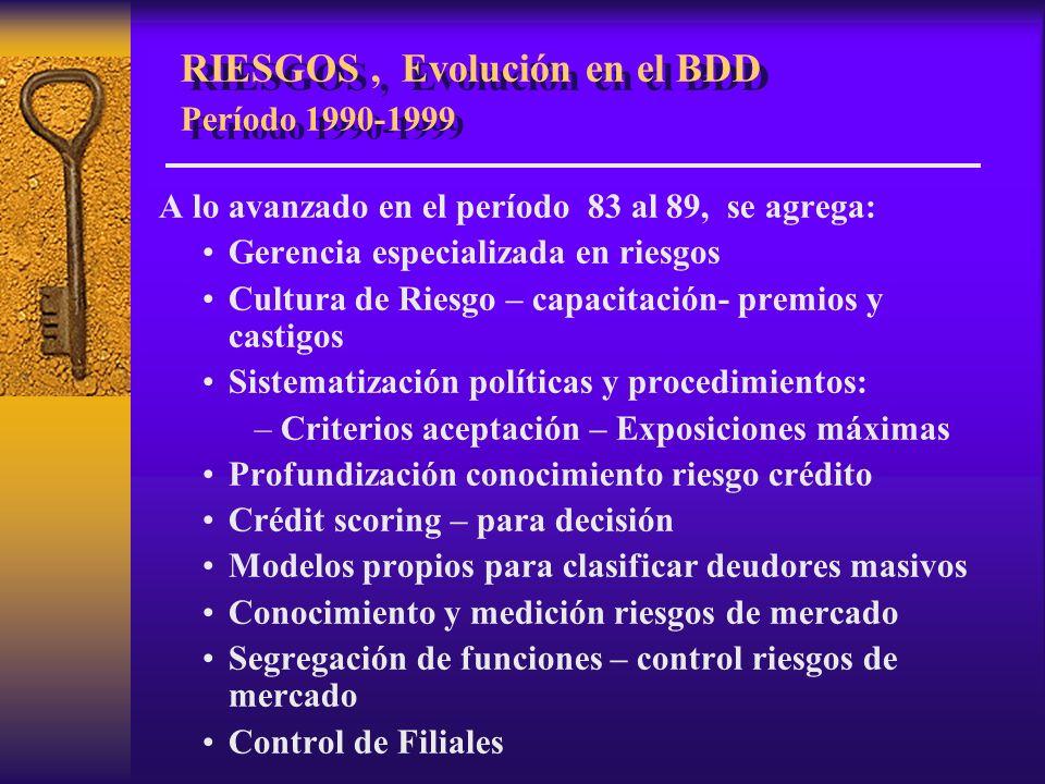 RIESGOS , Evolución en el BDD Período 1990-1999