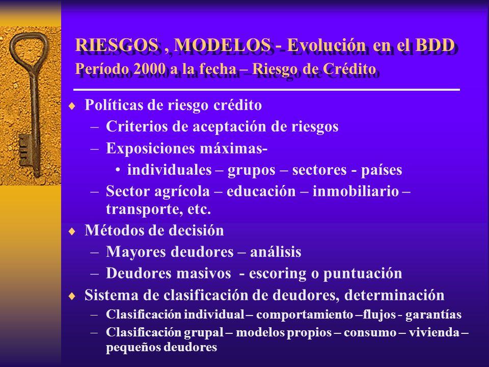 RIESGOS , MODELOS - Evolución en el BDD Período 2000 a la fecha – Riesgo de Crédito