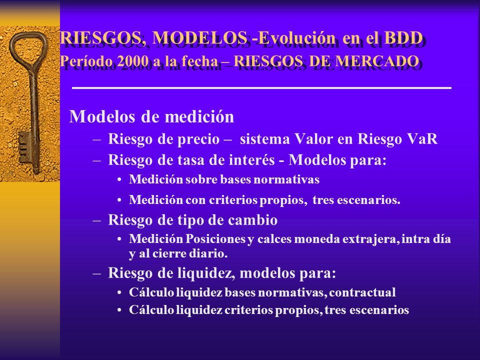 RIESGOS, MODELOS -Evolución en el BDD Período 2000 a la fecha – RIESGOS DE MERCADO