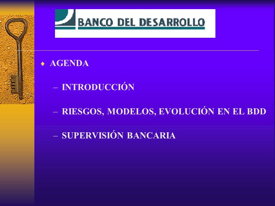 AGENDA INTRODUCCIÓN RIESGOS, MODELOS, EVOLUCIÓN EN EL BDD SUPERVISIÓN BANCARIA