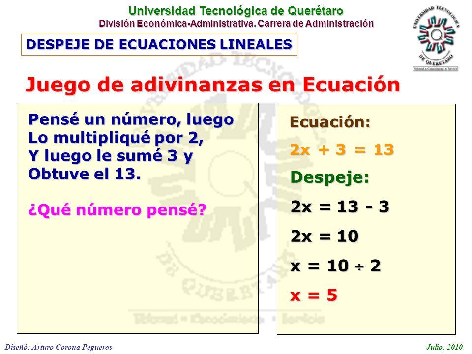 Juego de adivinanzas en Ecuación