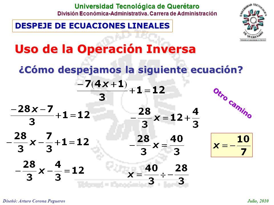 Uso de la Operación Inversa