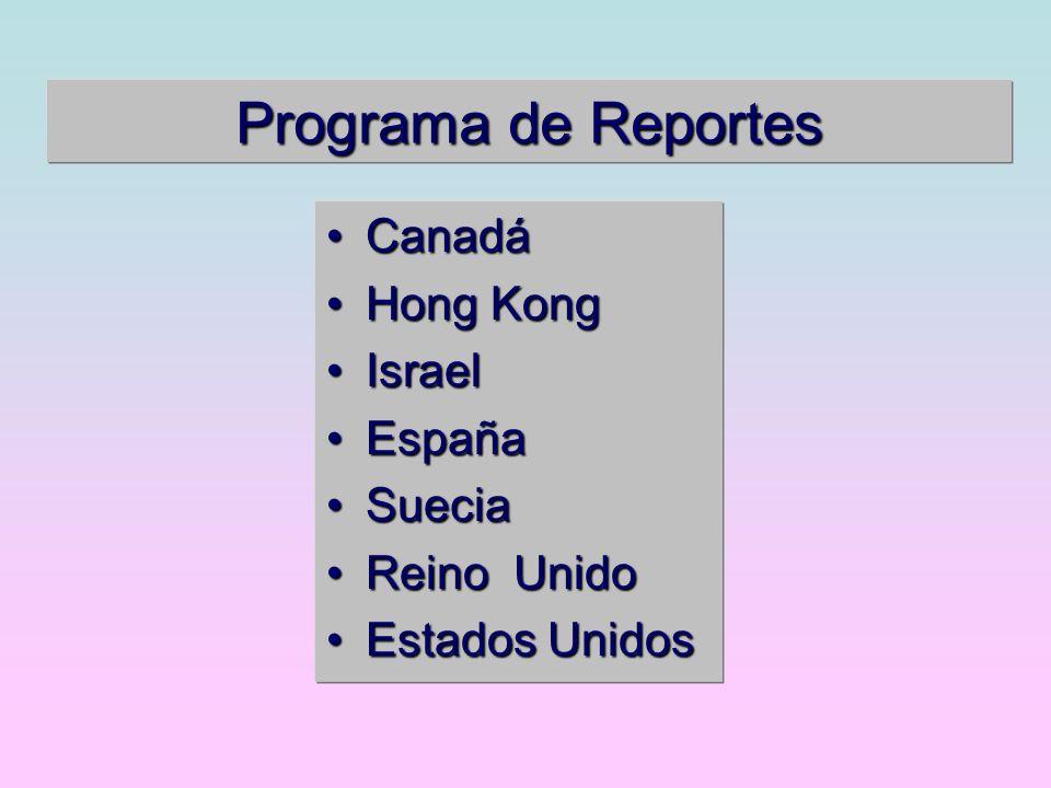 Programa de Reportes Canadá Hong Kong Israel España Suecia Reino Unido