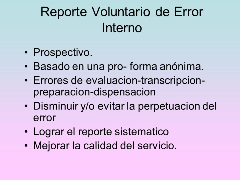 Reporte Voluntario de Error Interno