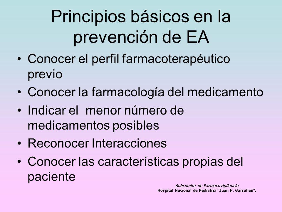 Principios básicos en la prevención de EA