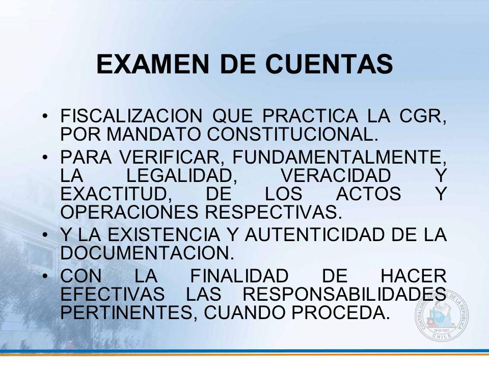 EXAMEN DE CUENTAS FISCALIZACION QUE PRACTICA LA CGR, POR MANDATO CONSTITUCIONAL.
