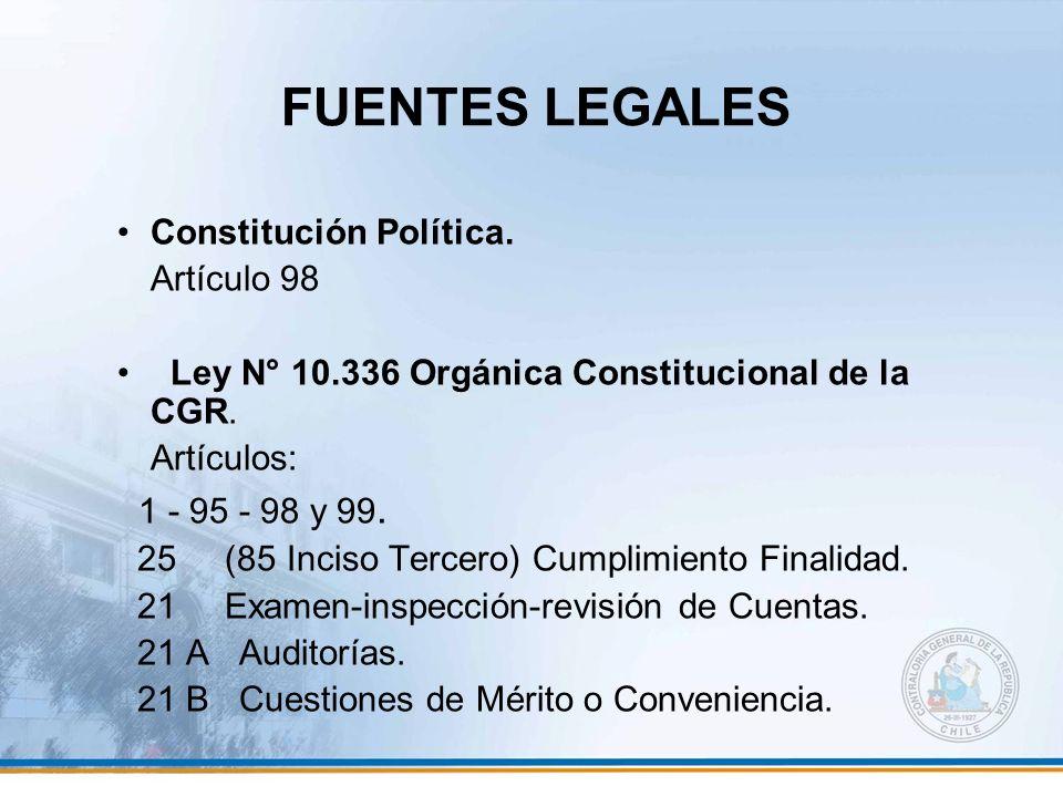 FUENTES LEGALES 1 - 95 - 98 y 99. Constitución Política. Artículo 98