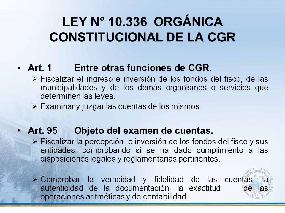 LEY N° 10.336 ORGÁNICA CONSTITUCIONAL DE LA CGR