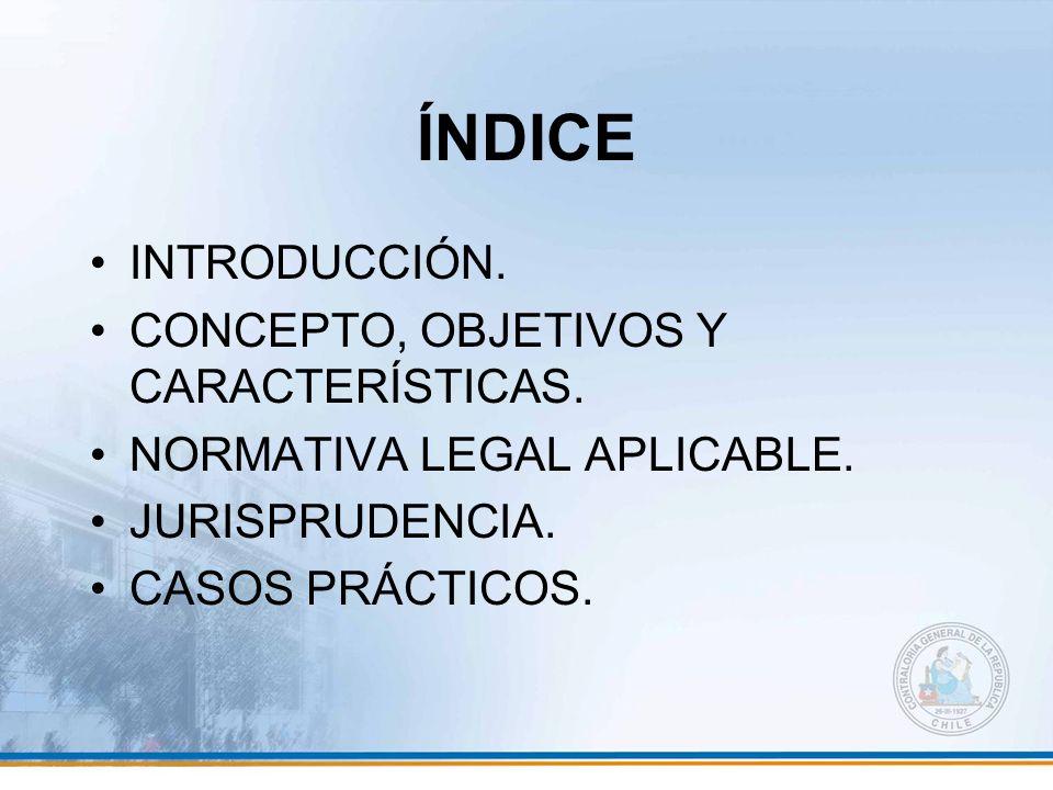 ÍNDICE INTRODUCCIÓN. CONCEPTO, OBJETIVOS Y CARACTERÍSTICAS.