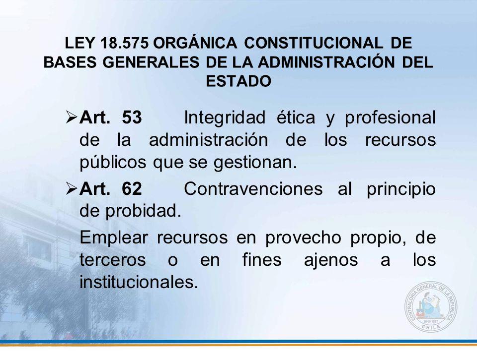 Art. 62 Contravenciones al principio de probidad.