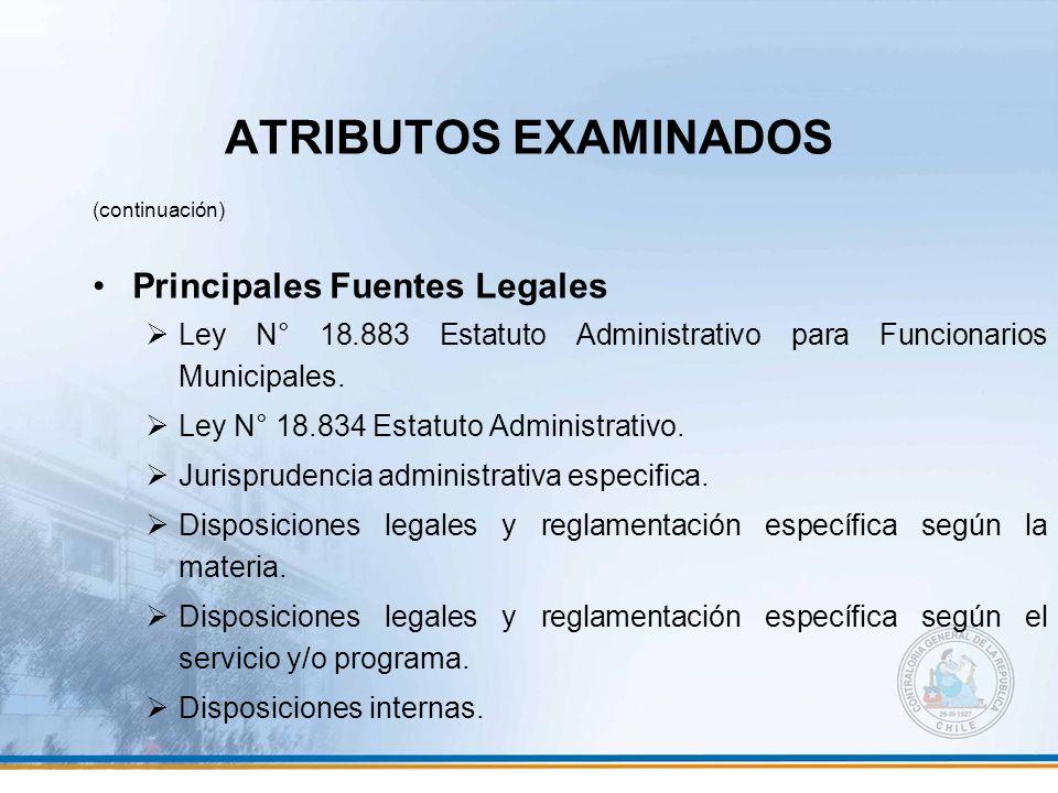 ATRIBUTOS EXAMINADOS Principales Fuentes Legales