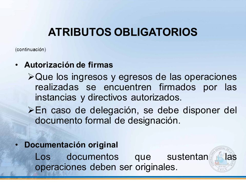 ATRIBUTOS OBLIGATORIOS