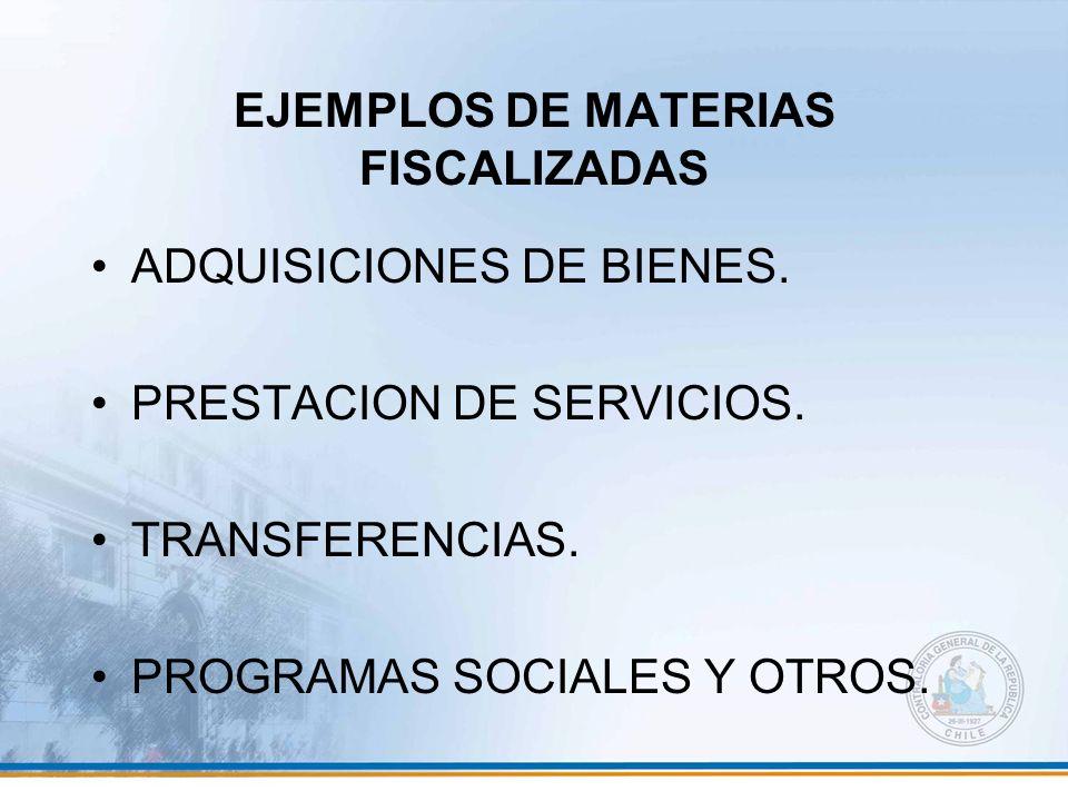 EJEMPLOS DE MATERIAS FISCALIZADAS
