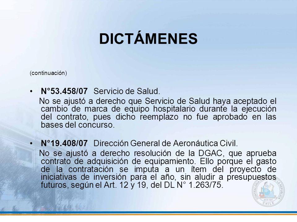 DICTÁMENES N°53.458/07 Servicio de Salud.
