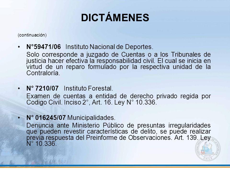 DICTÁMENES N°59471/06 Instituto Nacional de Deportes.