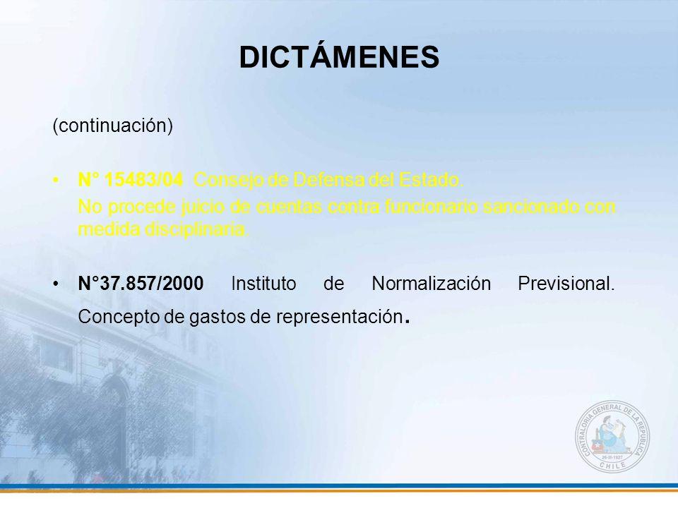 DICTÁMENES (continuación) N° 15483/04 Consejo de Defensa del Estado.
