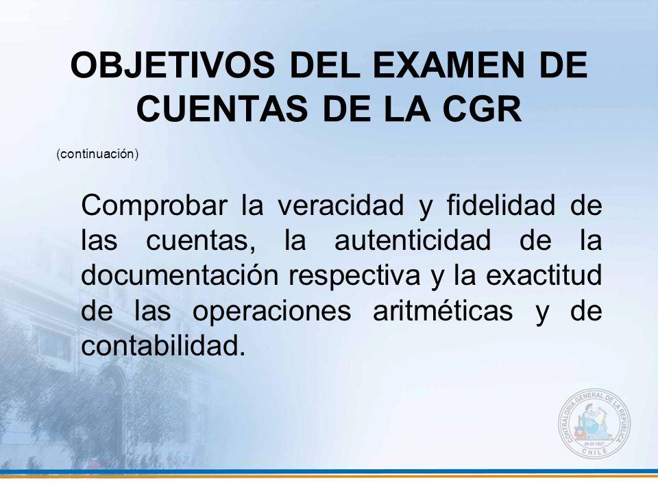 OBJETIVOS DEL EXAMEN DE CUENTAS DE LA CGR