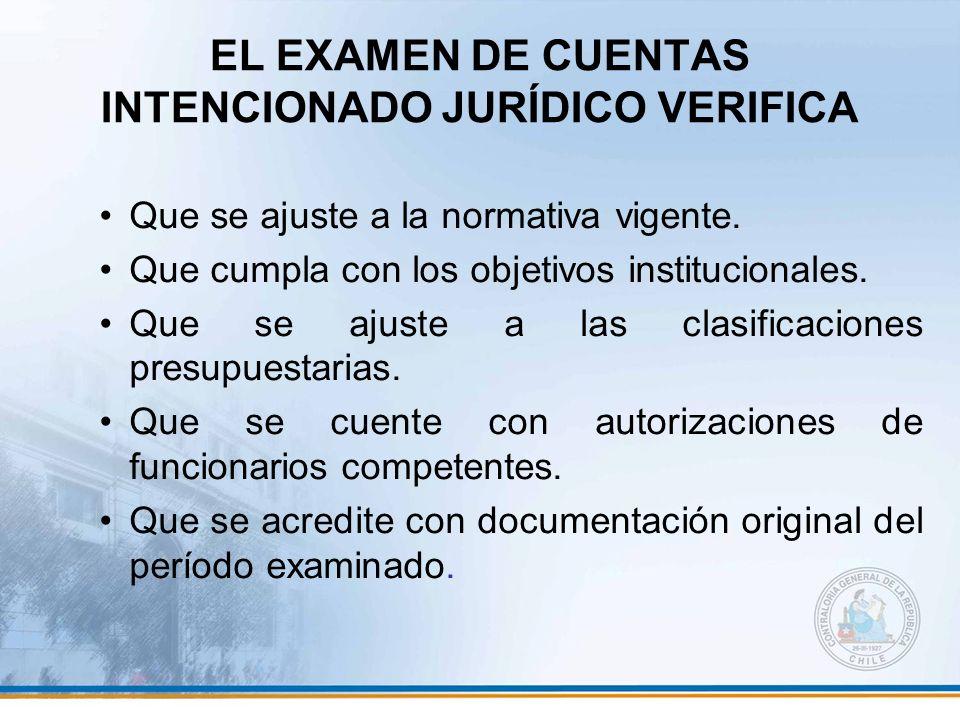 EL EXAMEN DE CUENTAS INTENCIONADO JURÍDICO VERIFICA