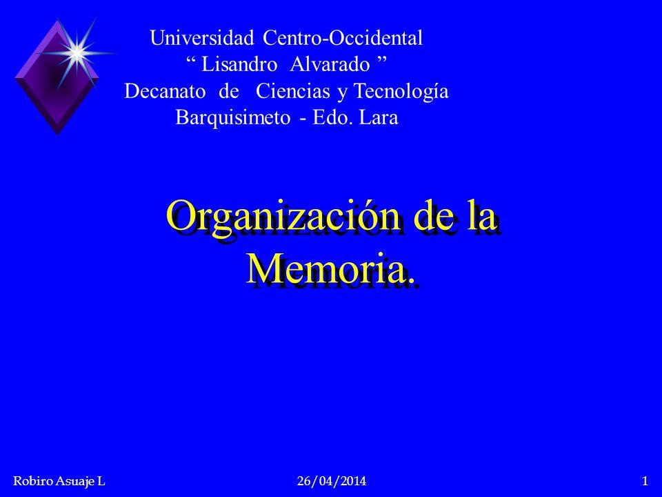 Organización de la Memoria.