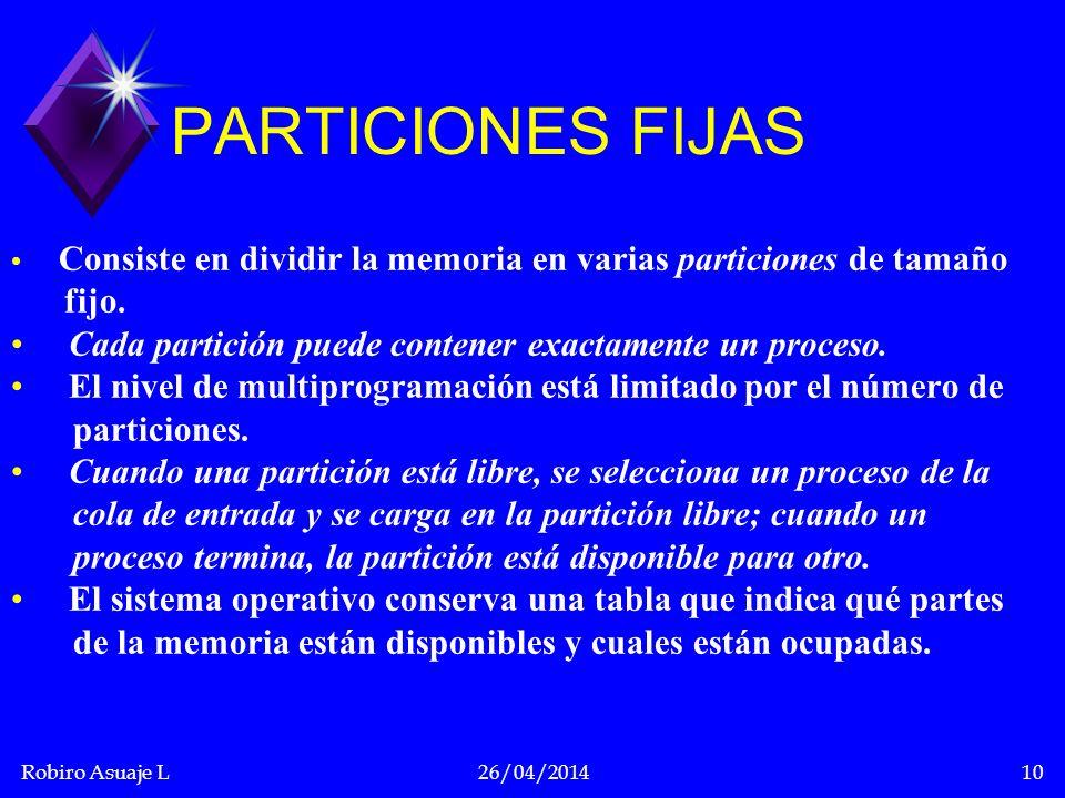 PARTICIONES FIJAS fijo.