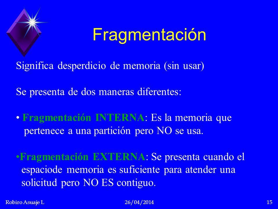 Fragmentación Significa desperdicio de memoria (sin usar)
