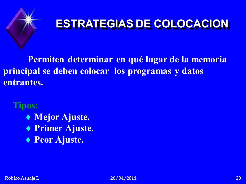 ESTRATEGIAS DE COLOCACION