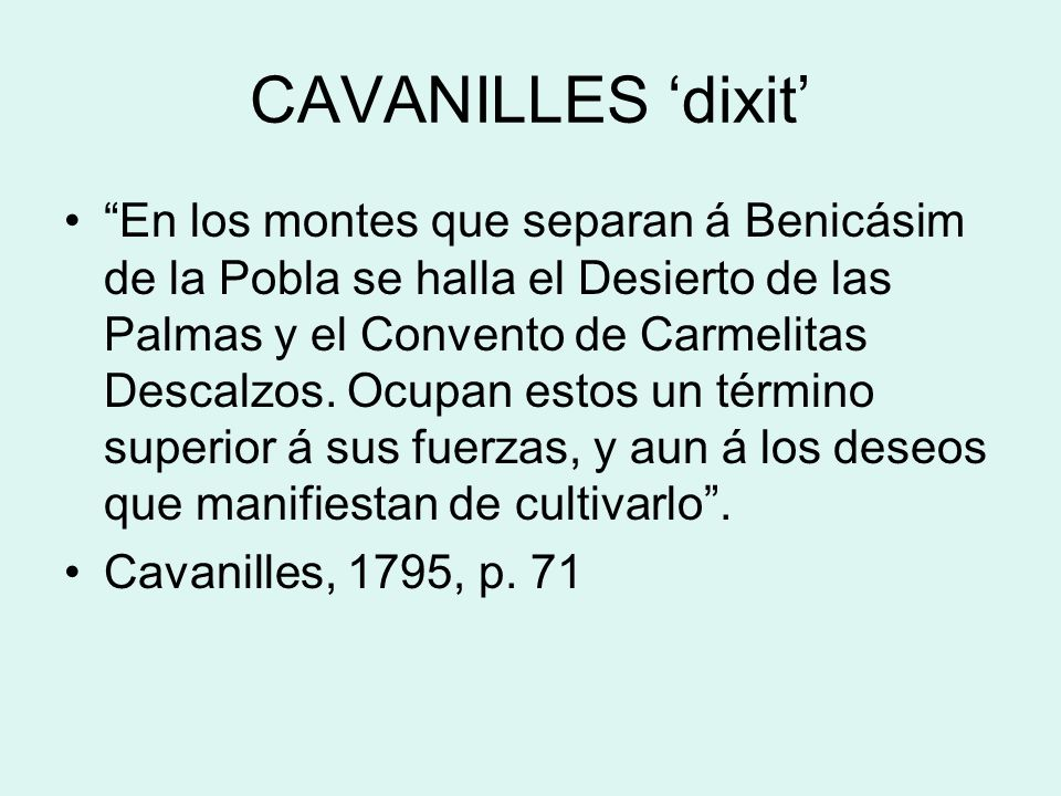 CAVANILLES 'dixit'
