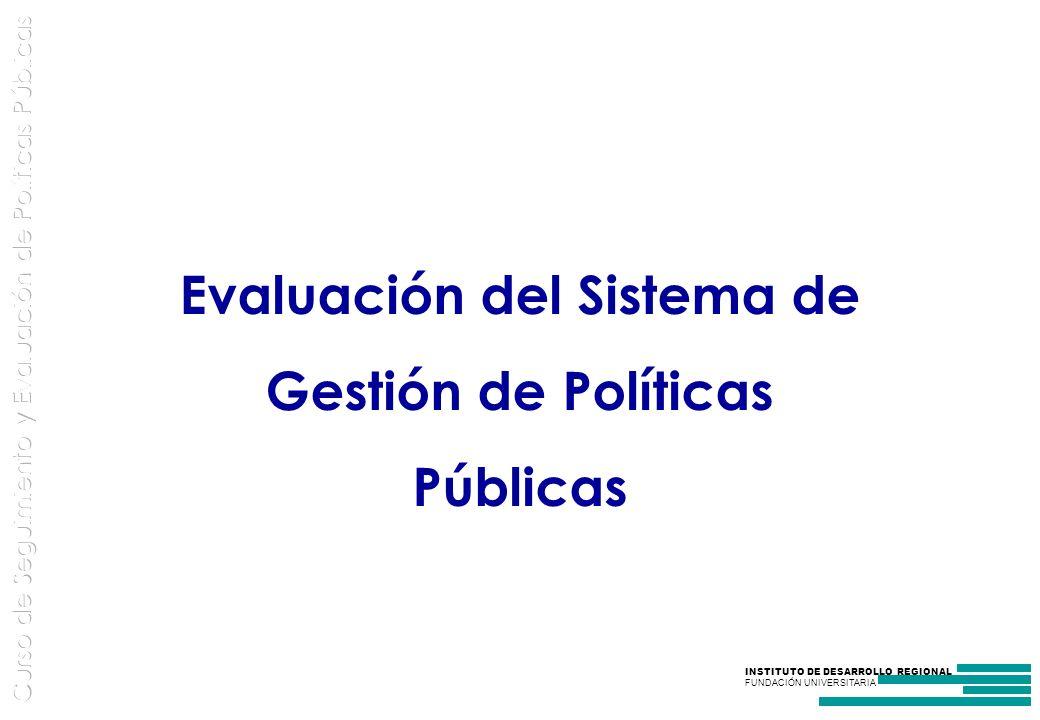 Evaluación del Sistema de Gestión de Políticas Públicas