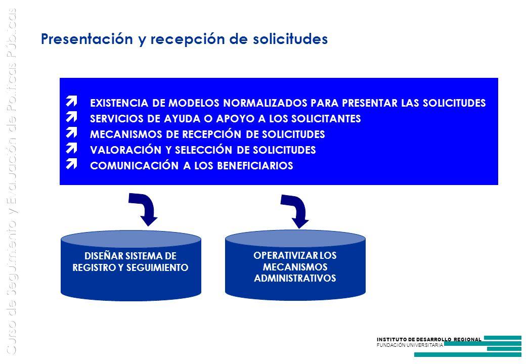 Presentación y recepción de solicitudes