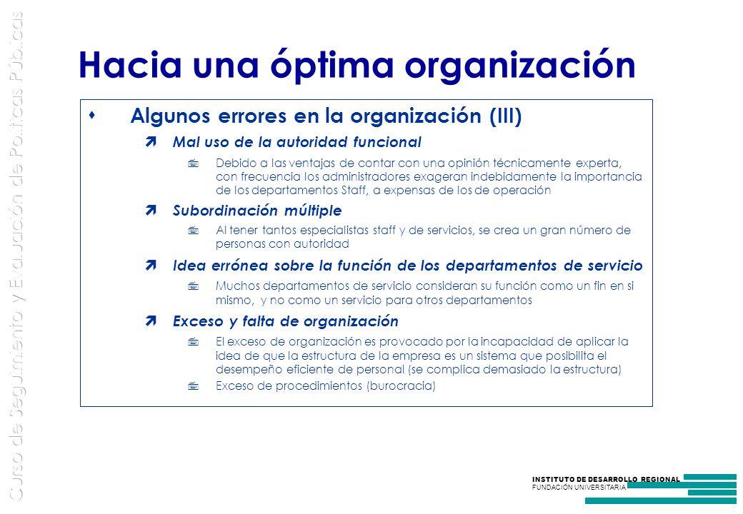 Hacia una óptima organización