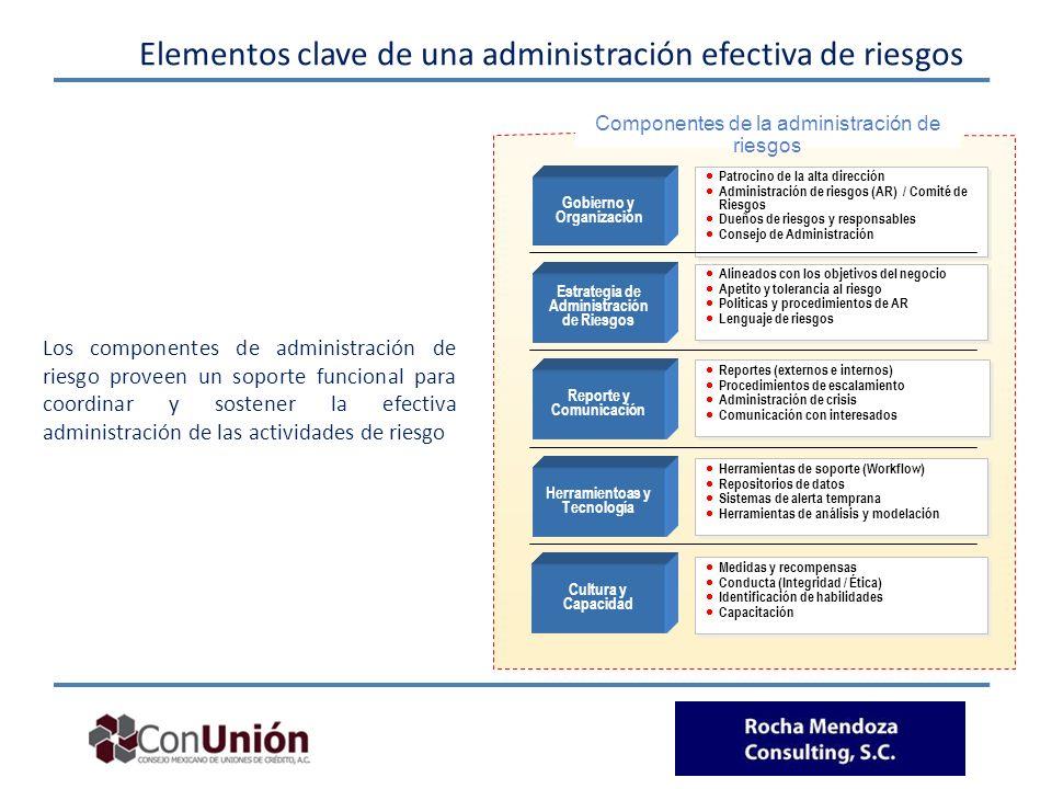 Elementos clave de una administración efectiva de riesgos