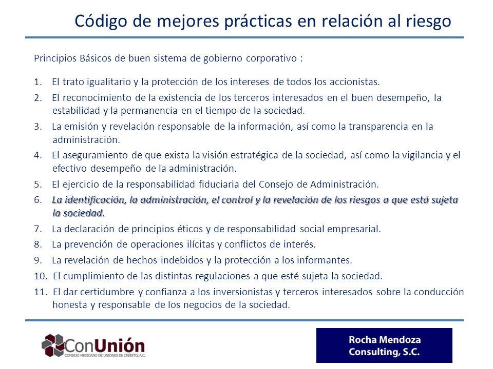 Código de mejores prácticas en relación al riesgo