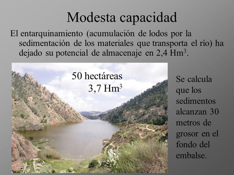 Modesta capacidad 50 hectáreas 3,7 Hm3