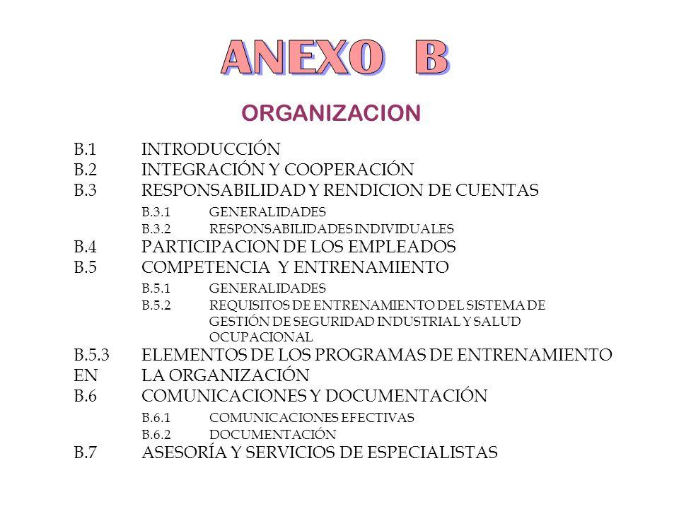 ANEXO B ORGANIZACION B.1 INTRODUCCIÓN B.2 INTEGRACIÓN Y COOPERACIÓN