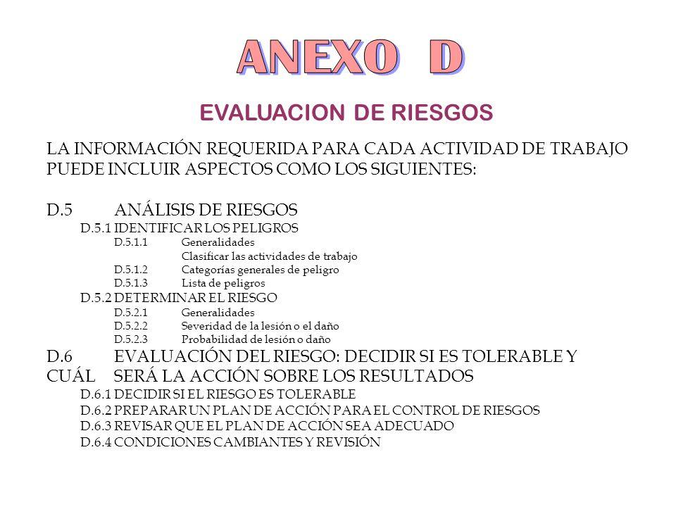 ANEXO D EVALUACION DE RIESGOS