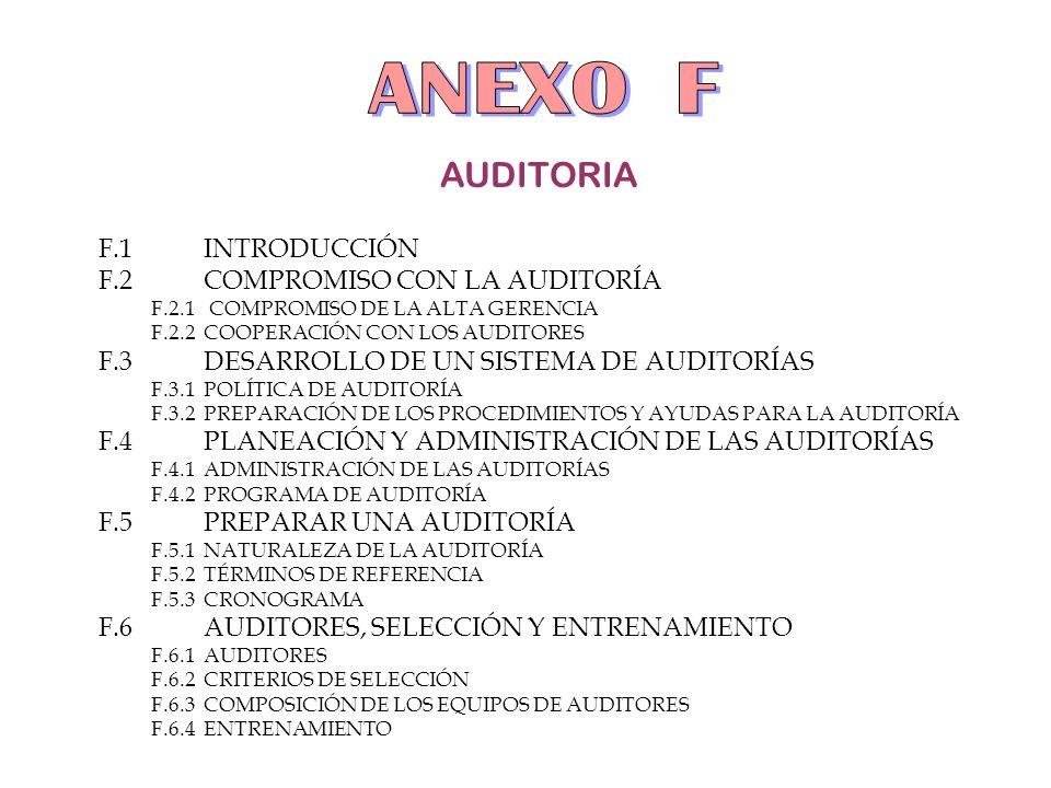 ANEXO F AUDITORIA F.1 INTRODUCCIÓN F.2 COMPROMISO CON LA AUDITORÍA