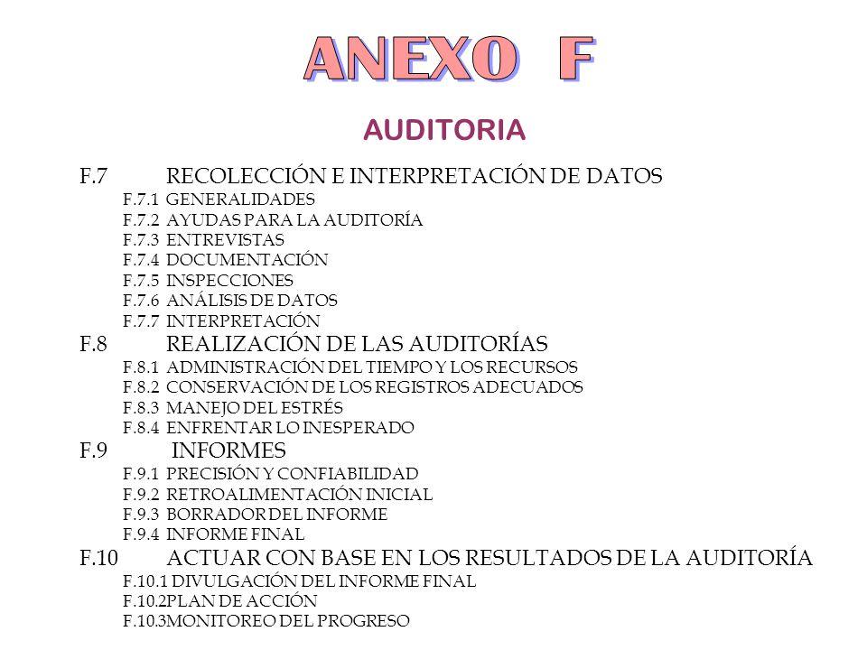 ANEXO F AUDITORIA F.7 RECOLECCIÓN E INTERPRETACIÓN DE DATOS