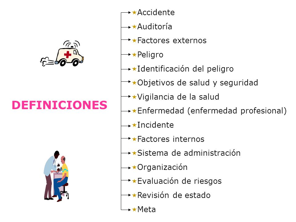 DEFINICIONES Accidente Auditoría Factores externos Peligro