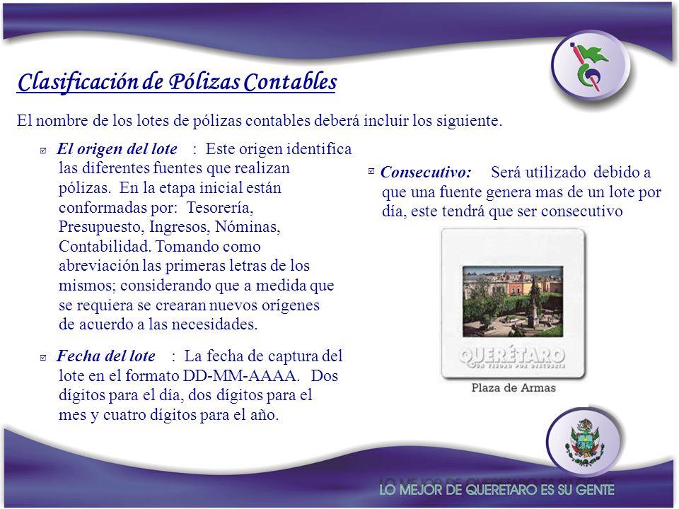 Clasificación de Pólizas Contables