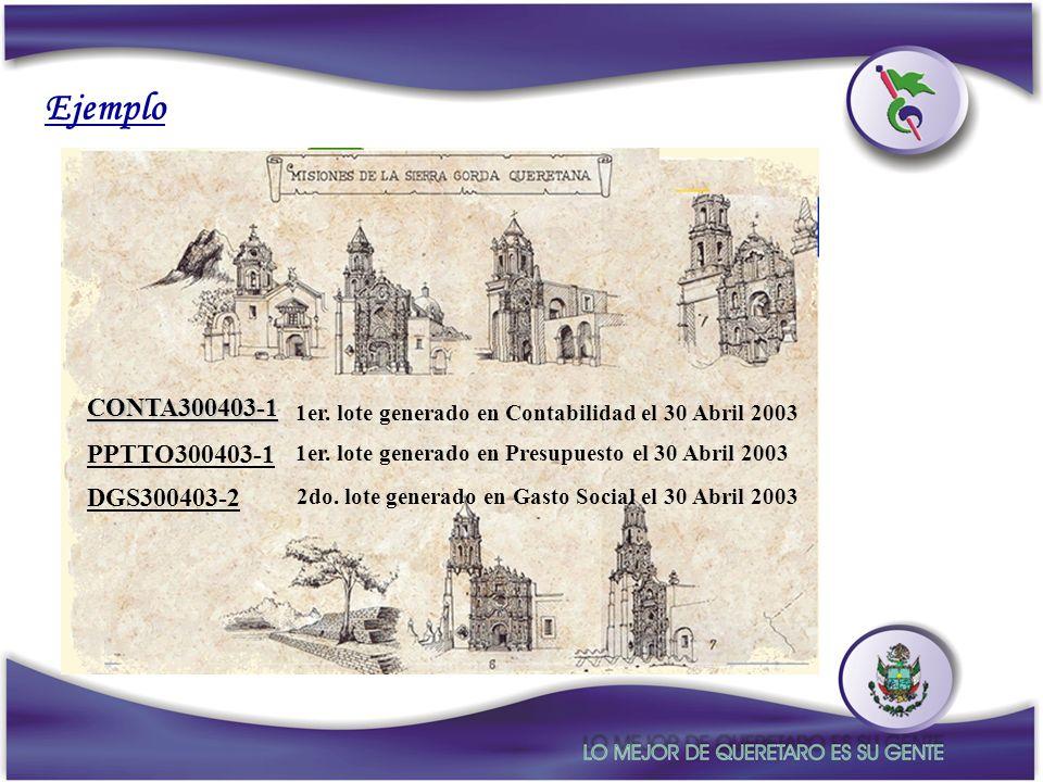 Ejemplo NUMERACION DE LOTES CONTA300403-1 PPTTO300403-1 DGS300403-2
