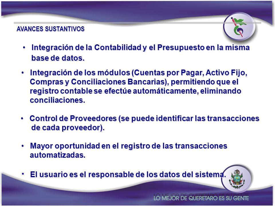 El usuario es el responsable de los datos del sistema.
