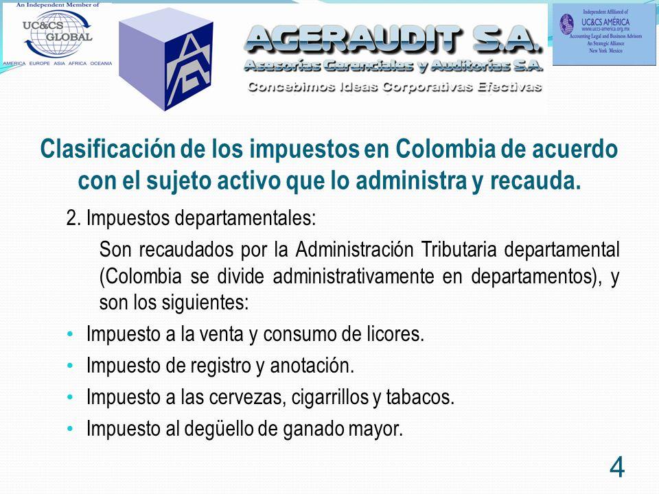 Clasificación de los impuestos en Colombia de acuerdo con el sujeto activo que lo administra y recauda.